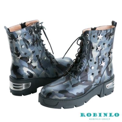 Robinlo 進口真皮迷彩粗跟中靴 藍色