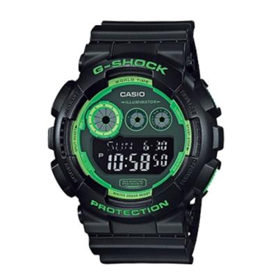 CASIO卡西歐 G-SHOCK 經典三眼數位腕錶-黑x51mm(GD-120N-1B3)