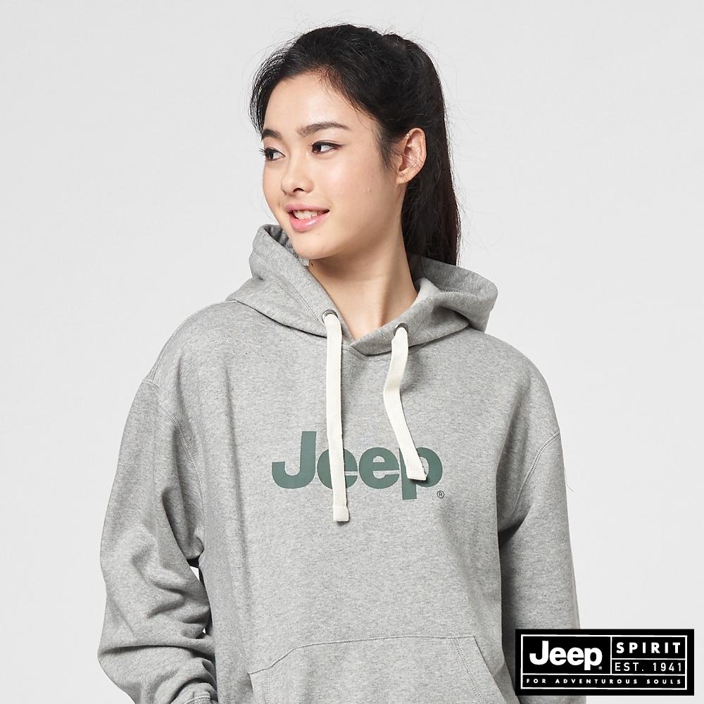 Jeep 女裝 簡約LOGO文字連帽T恤-淺灰
