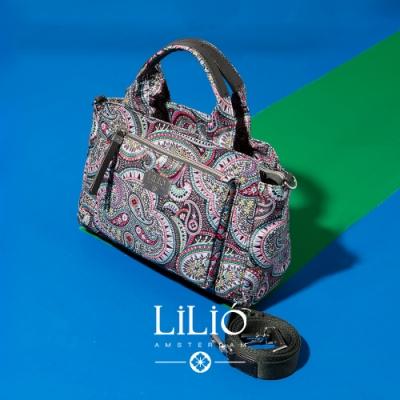 【LILIO】鐵灰_拉鏈式手提/斜背波士頓包_都市時尚_PAISLEY PARK