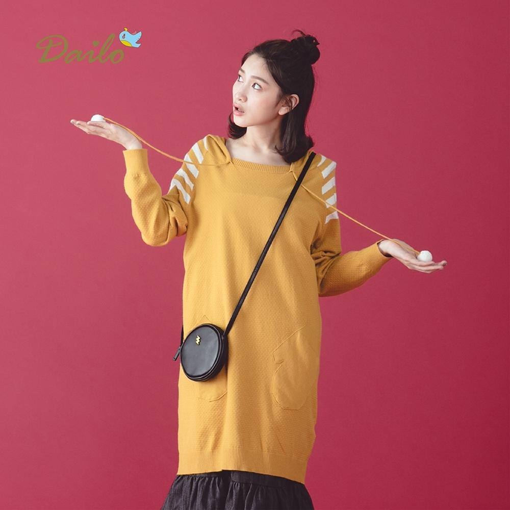 新降【Dailo】條紋袖圓球帽繩-針織衫(三色)