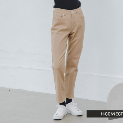 H:CONNECT 韓國品牌 女裝 -簡約素色微寬鬆直筒褲-卡其
