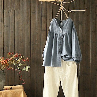 寬鬆苧麻襯衫防曬衣燈籠袖上衣-Y4528-設計所在