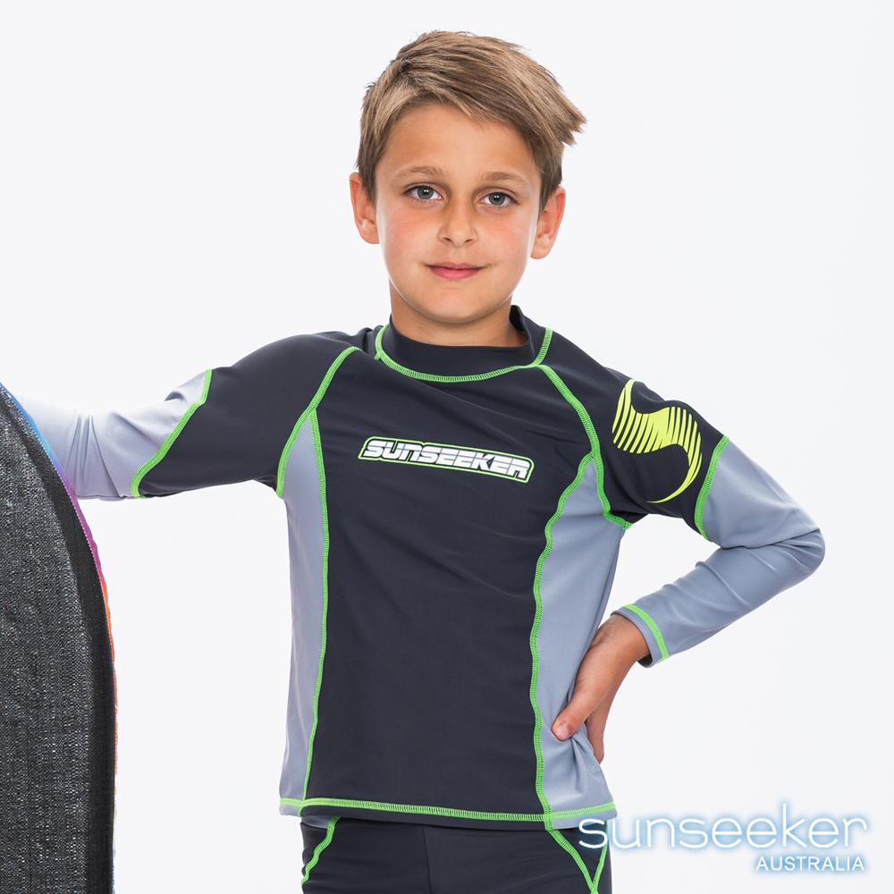 澳洲Sunseeker泳裝抗UV防曬立領長袖泳衣-大男童鐵灰