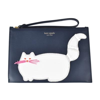 Kate Spade SmallWristlet金字LOGO貓咪設計牛皮拉鍊手拿包(深藍)