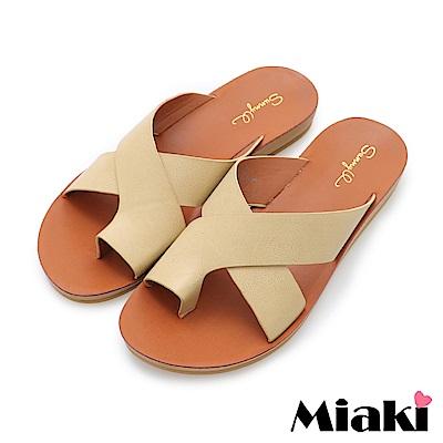 Miaki-輕便時尚平底拖鞋-卡其色