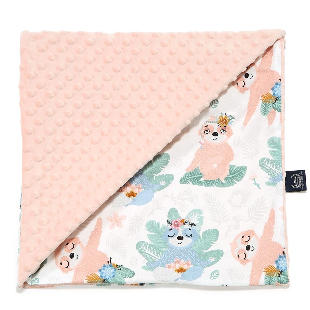 La Millou 單面豆豆巧柔毯-加大款(瑜珈珈樹懶-粉嫩氣質膚-四季毯寶寶毯嬰兒毯)