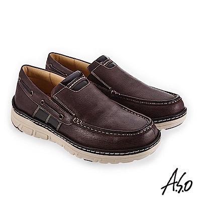 A.S.O 超能耐二代 寬楦柔軟舒適休閒鞋 咖啡