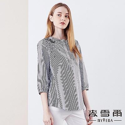 【麥雪爾】純棉水鑽黑繡花七分袖條紋襯衫