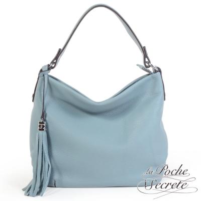 La Poche Secrete側背包 簡約真皮肩側背流蘇大方包-天空藍