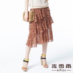 【麥雪爾】滿版小碎花千層雪紡長裙