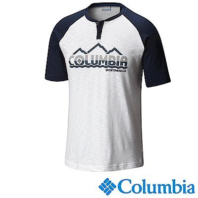 Columbia 哥倫比亞 男款-純棉短袖上衣-白色 UAE00930WT