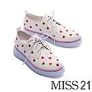 厚底鞋 MISS 21 怦然心動俏皮愛心電繡皺漆皮綁帶厚底鞋-白