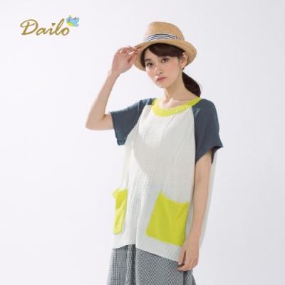 【Dailo】拉克蘭袖針織短袖針織衫(三色)