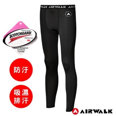 【AIRWALK】男款吸排緊身運動褲-深黑