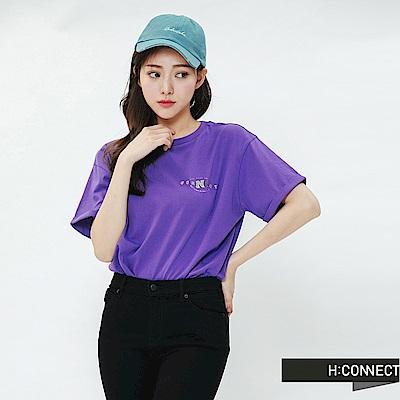 H:CONNECT 韓國品牌 女裝-活力彩色圖印T-shirt-紫