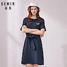 SEMIR森馬-街頭塗鴉印花綁帶造型連衣裙-女(2色)
