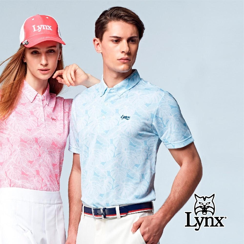 【Lynx Golf】男款吸濕排汗領尖扣設計葉子印花短袖POLO衫-藍色