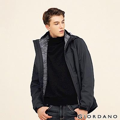 GIORDANO 男裝3合1可拆帽戶外防風防水保暖外套-99 標誌黑