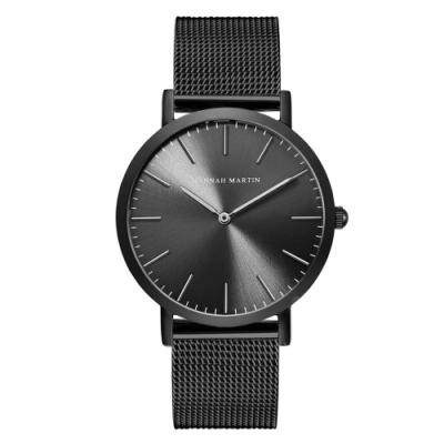 HANNAH MARTIN 極簡良品無秒針設計腕錶-黑錶盤x銀色刻度/40mm