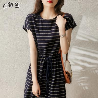 初色  亮絲條紋綁帶連身裙-黑色-(F可選)