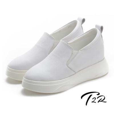 T2R-正韓空運-增高鞋真皮防滑內增高厚底樂福鞋-7.5cm-白