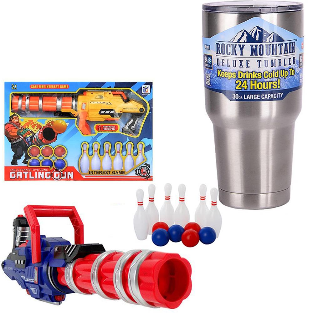 《Gatling-Gun》機槍造型射擊乒乓保齡球遊戲玩具槍+冰霸杯組