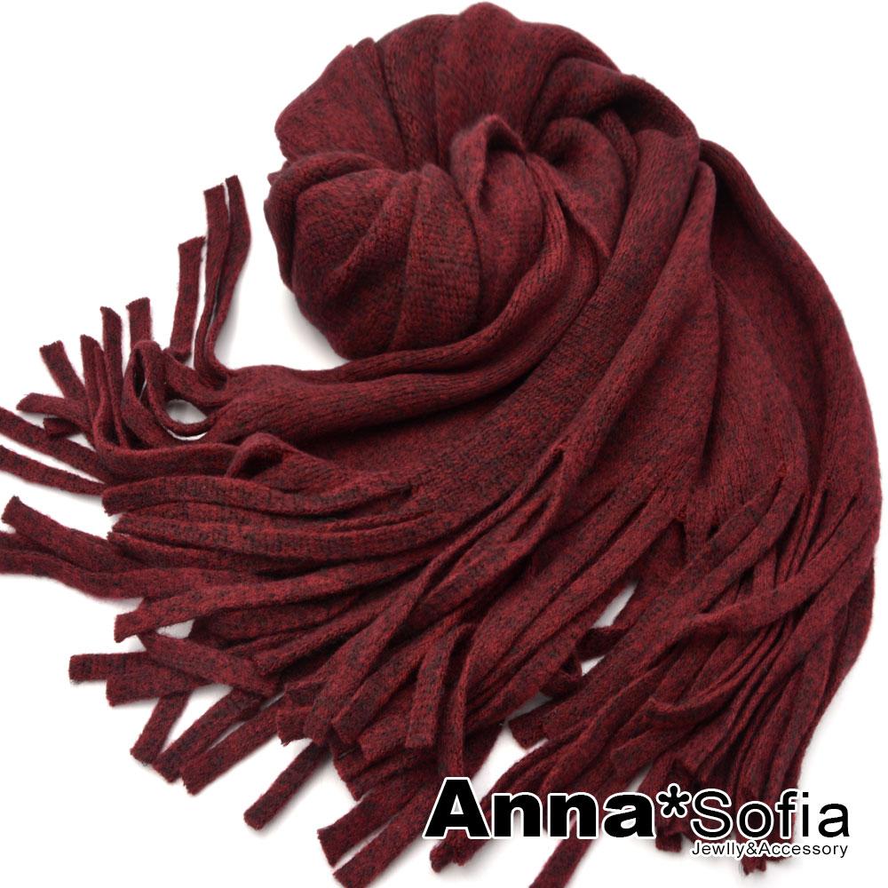 AnnaSofia 繁點長流蘇 仿羊絨加寬加厚披肩圍巾小毯子(酒紅色) @ Y!購物