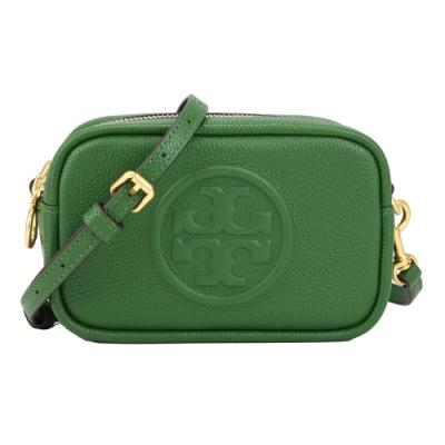 TORY BURCH Perry Bombe mini 荔枝皮革雙拉鍊相機斜背包(翠綠色)