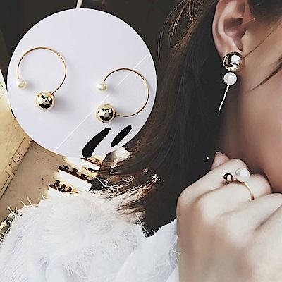 梨花HaNA 韓國時尚宣言金球珍珠半圈耳環