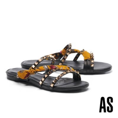拖鞋 AS 個性時髦金屬鉚釘印花布繫帶拖鞋-黃
