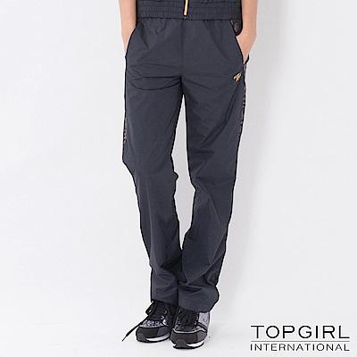 【TOP GIRL】豹紋拼接風衣長褲-黑