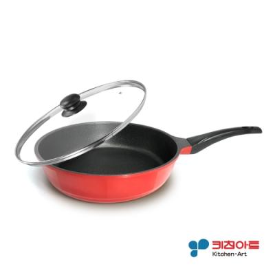 韓國Kitchen Art紅鈦晶原石鑄造加深平底不沾鍋28cm(含蓋)