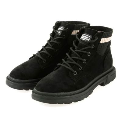 JMS-英式潮流拼接針織綁帶短踝靴-黑色