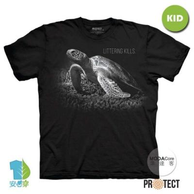 摩達客-預購-美國The Mountain保育系列 拯救海龜 兒童黑色純棉短袖T恤