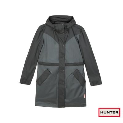 HUNTER - 女裝-輕量橡膠長版外套 - 黑