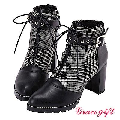Grace gift X Kerina妞妞-多穿式帶釦綁帶短靴 黑格