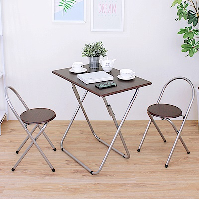 頂堅 [1桌2椅]長方形折疊桌椅組/洽談桌椅組/餐桌椅組(二色)