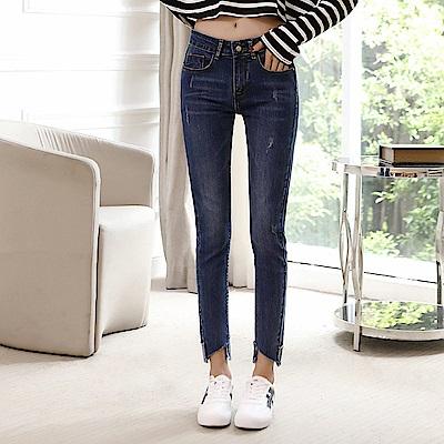 ALLK 窄管爪痕9分牛仔褲 深藍色(尺寸27-31腰)