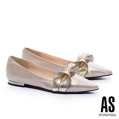 低跟鞋 AS 奢華魅力立體晶鑽蝴蝶結羊皮尖頭低跟鞋-金