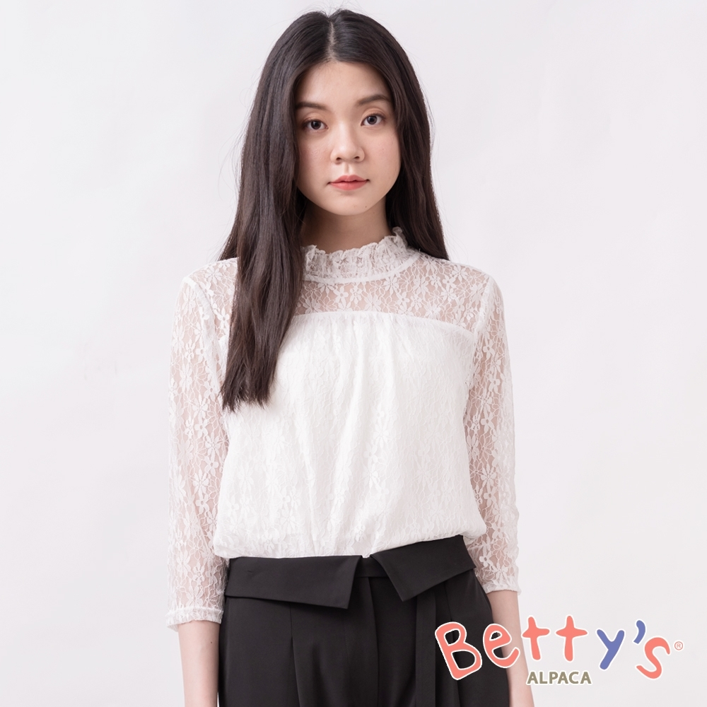 betty's貝蒂思 優雅立領透膚蕾絲上衣(白色)