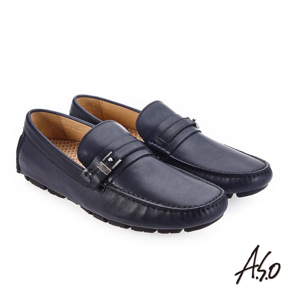 A.S.O 超能耐二代 低調簡約飾釦樂福鞋 深藍