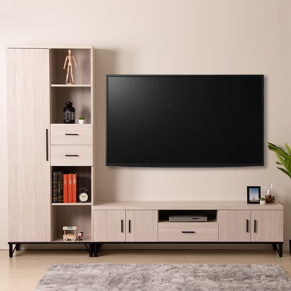 D&T 德泰傢俱 Amanda 白橡簡約生活 8.6尺L型電視櫃-260x40x200cm
