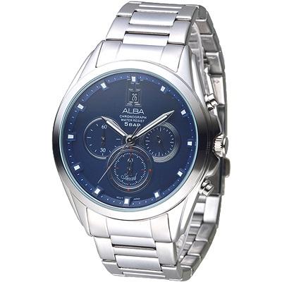 ALBA 都市新紀元三眼計時男錶-藍(AT3A99X1)/37mm