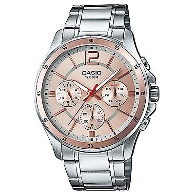 CASIO 低調奢華三針三眼風格不鏽鋼錶(MTP-1374D-9A)/香檳金44mm