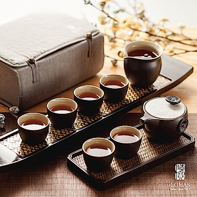陸寶LOHASPottery 定窯龍紋旅行茶組  一壺一海六杯 旅行布包