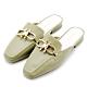River&Moon防水鞋 造型金鎖扣方頭低跟穆勒鞋 綠 product thumbnail 1