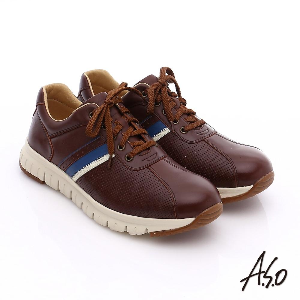 A.S.O 輕量抗震 真皮條紋配色活力休閒鞋-咖啡