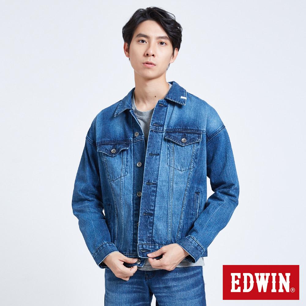 EDWIN 落肩牛仔外套-男-拔洗藍