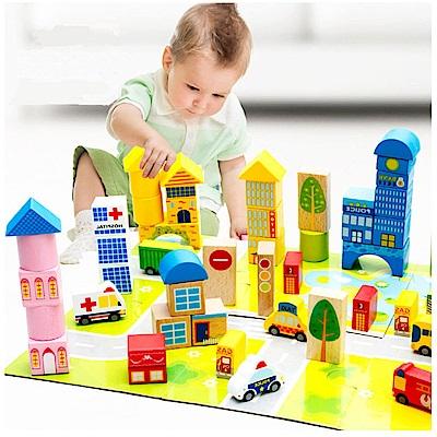 經典木玩 62顆城市交通積木組(兒童積木)(36m+)